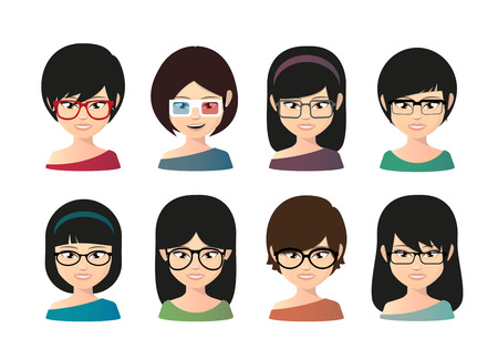 Illustration of a female asian avatar wearing glasses