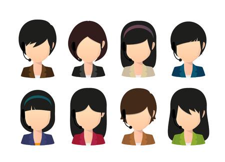 Illustration of a female asian faceless avatar wearing head set