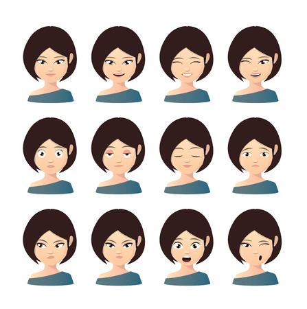 Illustration of a female asian avatar expression set