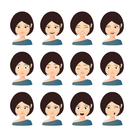 Illustration of a female asian avatar expression set