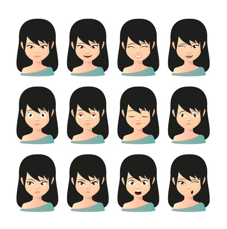 Illustration of a female asian avatar expression set Vector