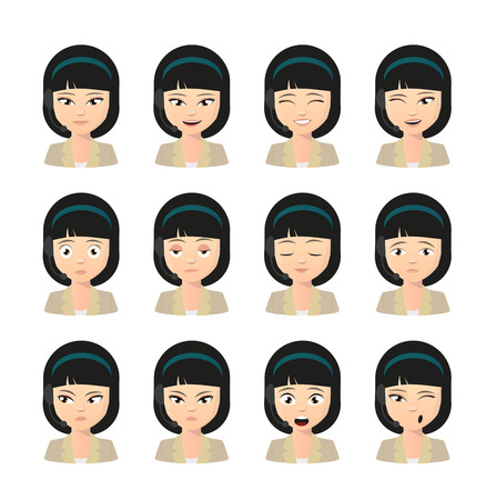 facial expressions: Illustration of a female asian operator avatar wearing headset expression set
