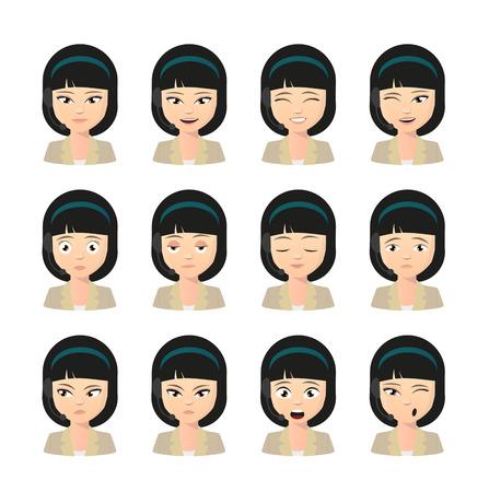 gestos de la cara: Ilustraci�n de un avatar operador asi�tico femenino que lleva conjunto expresi�n auricular Vectores