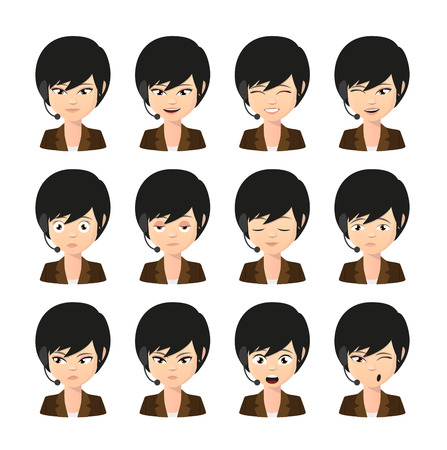 Illustration of a female asian operator avatar wearing headset expression set Vector