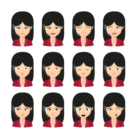 call centre girl: Illustration of a female asian operator avatar wearing headset expression set