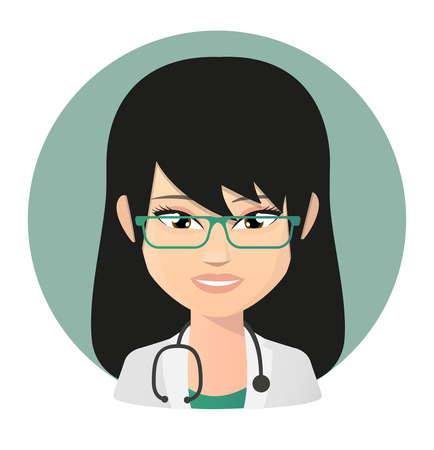 Illustration of a female doctor  asian avatar Vector