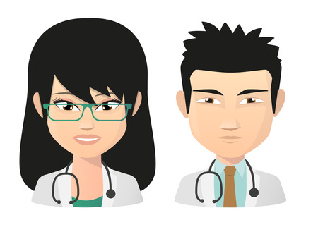 chinese people: Illustration of a female and male doctor asian avatar set