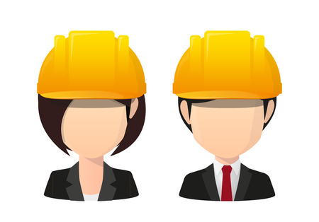 Illustration of an saian female and male faceless avatar wearing a work helmet Illustration