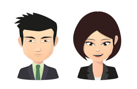 asian manager: Illustration of an saian female and male wearing suit