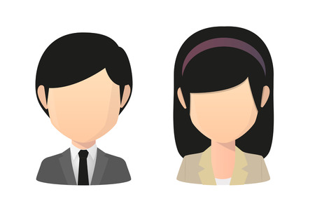 Illustration of an saian female and male faceless avatar wearing suit