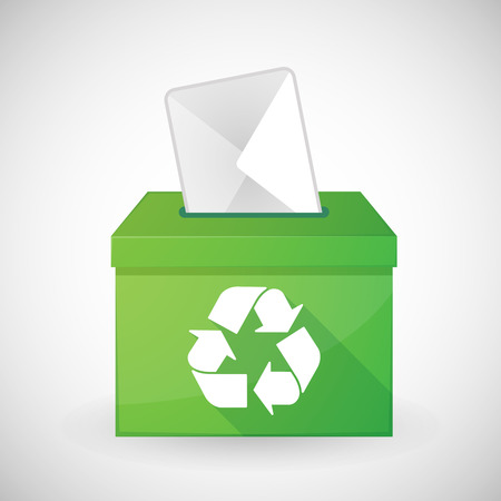 recycling campaign: Illustration of a green ballot box with a recycle sign