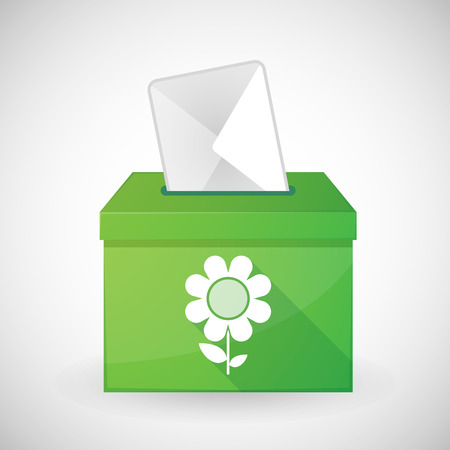Illustration of a green ballot box with a flower Vector