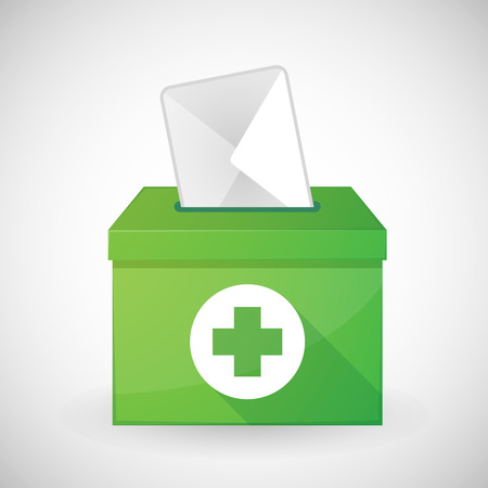 pharmacy store: Illustration of a green ballot box with a pharmacy sign Illustration