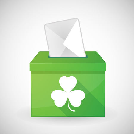 plebiscite: Illustration of a green ballot box with a clover