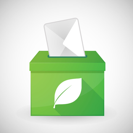 Illustration of a green ballot box with a leaf Vector