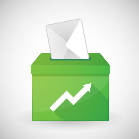 elect: Illustration of a green ballot box with a graph