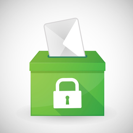 plebiscite: Illustration of a green ballot box with a lock pad