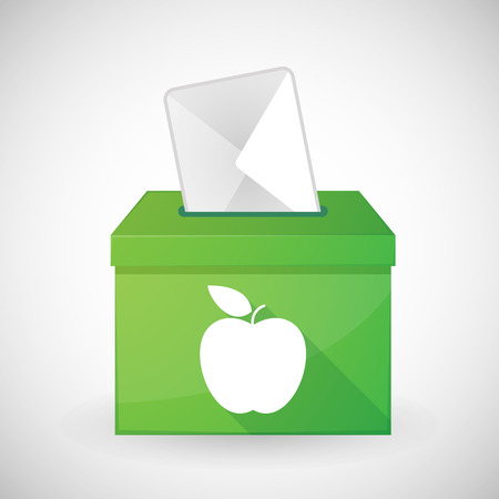 Illustration of a green ballot box with a fruit