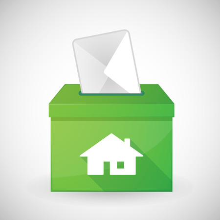 shadow box: Illustration of a green ballot box with a house Illustration