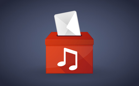 Illustration of a red ballot box with a music note
