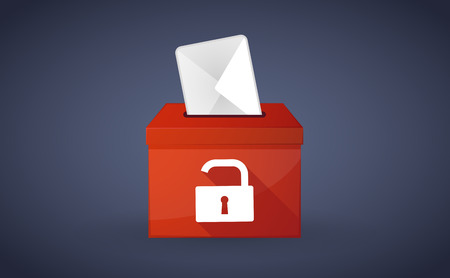 plebiscite: Illustration of a red ballot box with a lock pad Illustration