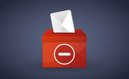subtraction: Illustration of a red ballot box with a subtraction sign
