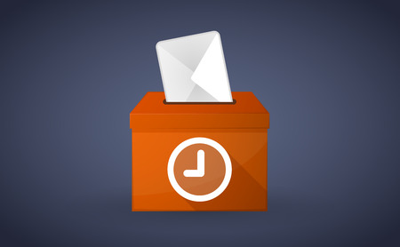 plebiscite: Illustration of a Orange ballot box with a clock
