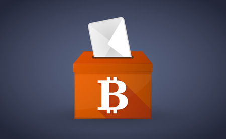 plebiscite: Illustration of a Orange ballot box with a bit coin sign Illustration