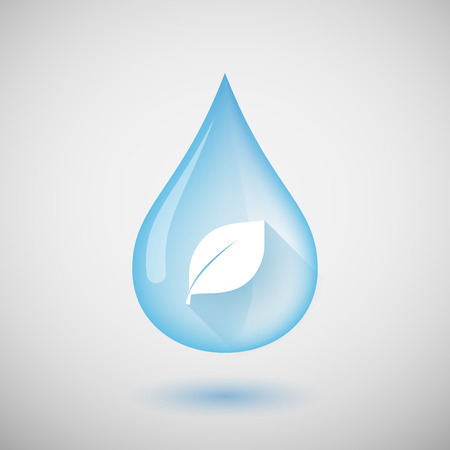 organic fluid: Illustration of a water drop with a leaf