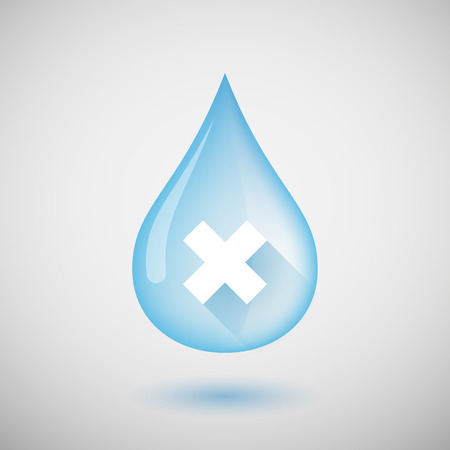 liquid x: Illustration of a water drop with an X sign
