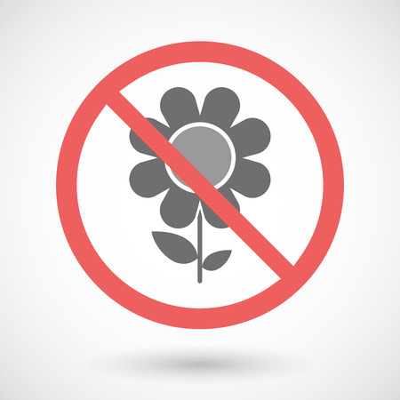 warning indicator: Illustration of a forbidden signal with a flower