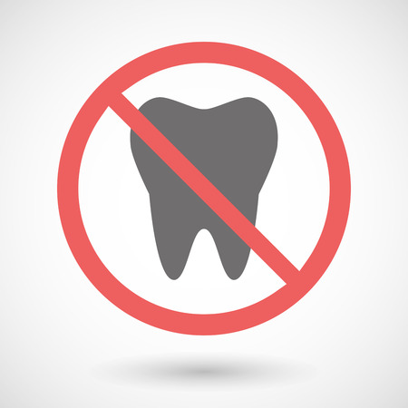 warning indicator: Illustration of a forbidden signal with a tooth Illustration