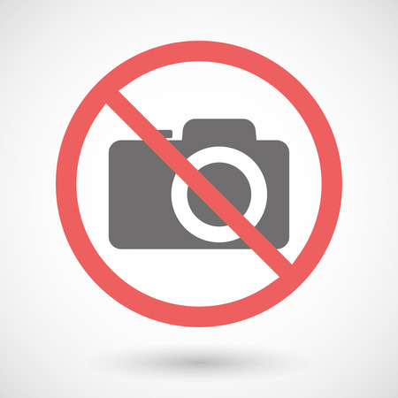 Illustration of a forbidden signal with a photo camera Vector