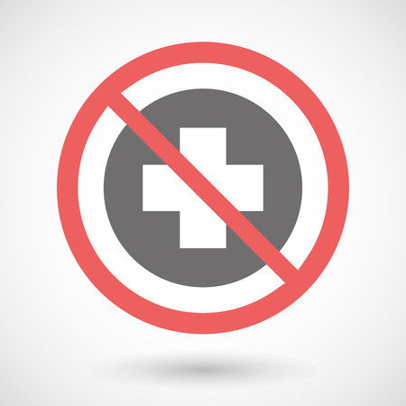 cross street with care: Illustration of a forbidden signal with a pharmacy sign Illustration