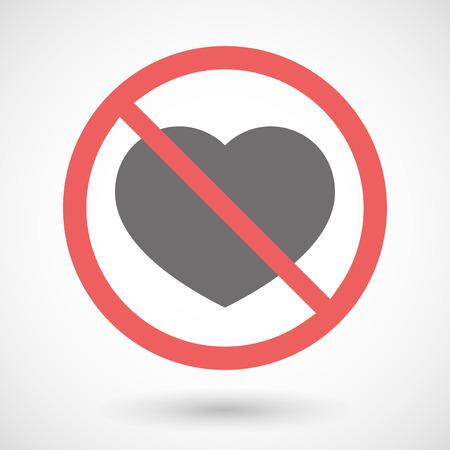 forbidden love: Illustration of a forbidden signal with a heart