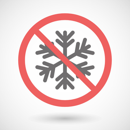 Illustration of a forbidden signal with a snow flake Illustration