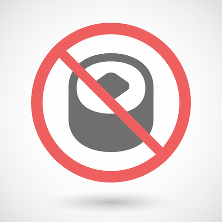warning indicator: Illustration of a forbidden signal with a sushi
