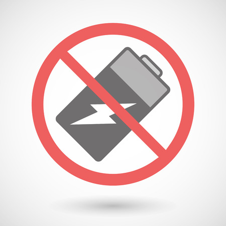 warning indicator: Illustration of a forbidden signal with a battery
