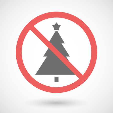 warning indicator: Illustration of a forbidden signal with a christmas tree Illustration