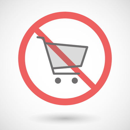 warning indicator: Illustration of a forbidden signal with a shopping cart