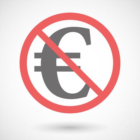 la union hace la fuerza: Ilustración de una señal de prohibido con un símbolo del euro Vectores