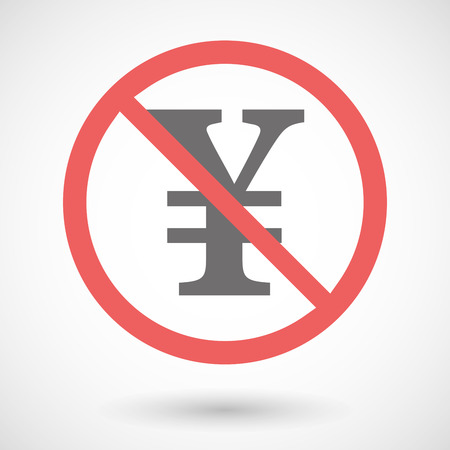 yen sign: Illustration of a forbidden signal with a yen sign