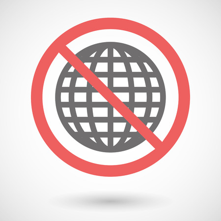 warning indicator: Illustration of a forbidden signal with a world globe