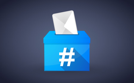 hash: Illustration of a blue ballot box with a hash tag