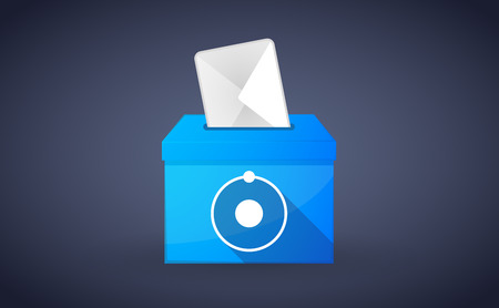 letter box: Illustration of a blue ballot box with an atom Illustration