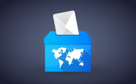 plebiscite: Illustration of a blue ballot box with a world map Illustration