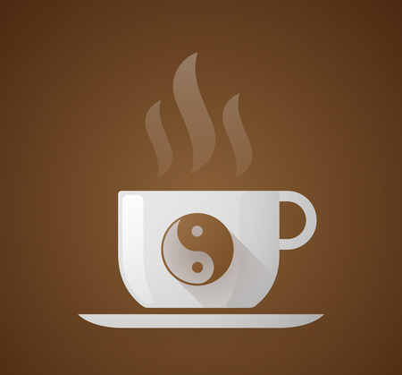 karma design: Illustration of a coffee cup with a ying yang