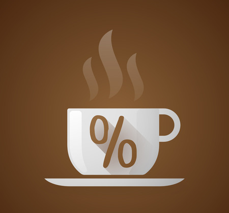 percentage sign: Illustration of a coffee cup with a percentage sign