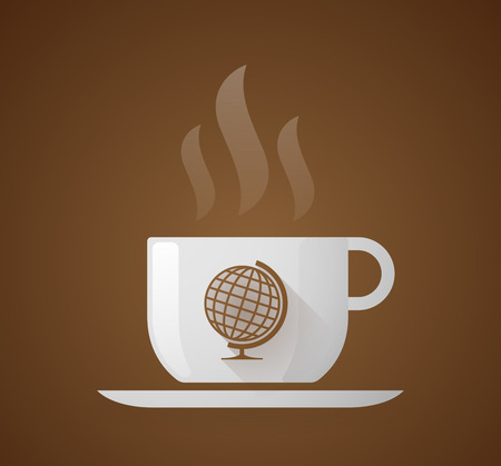 round icons: Illustration of a coffee cup with a world globe Illustration
