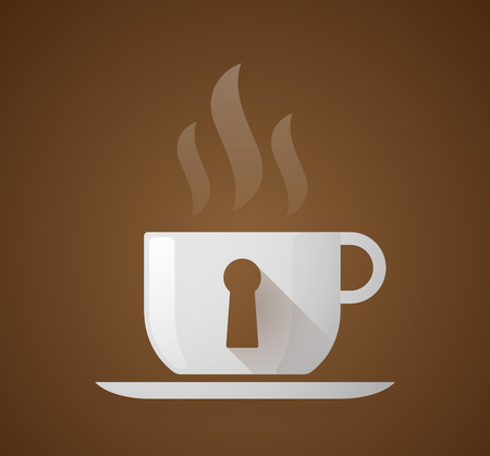 key hole: Illustration of a coffee cup with a key hole Illustration
